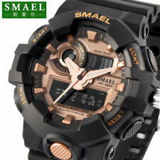 SMAEL Mens Military Sport Watch LED Digital Dual Time Zone Waterproof Wristwatch