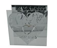 Mirror Glass Tea Light Holder with a Love Heart Design