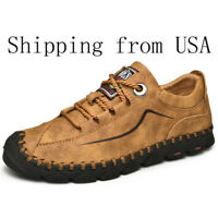 Mens Oxford Leather Shoes Casual Shoe Loafers Fashion Handmade Lace Up Flat shoe