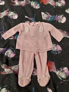Baby Girls Pink Fleece Rabbit Jumper And Trousers 0-3 Months