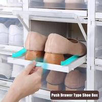 3pcs Push Drawer Type Shoe Box Shoe Organizer Drawer Plastic Storage Transparent
