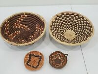 BEAUTIFUL Lot of 4 COLORFUL VINTAGE  APACHE INDIAN STORAGE BASKETS