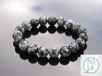 Snowflake Obsidian 10mm Natural Gemstone Bracelet 6-9'' Elasticated Healing