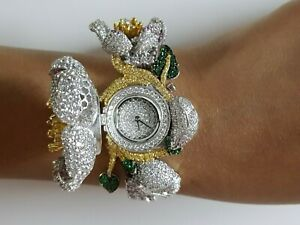925 Sterling Silver women's wrist watch simulated diamond white dial flower ALc