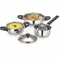 3Pcs Stainless Steel Cookware Set Serving Pots Handi Saucepan Wok With Steel Lid