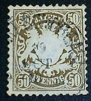 GERMANY, BAVARIA, SCOTT # 45, 50pf. VALUE 1878 COAT OF ARMS ISSUE USED F-VF