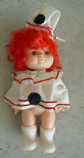 "Vintage 1970s Plastic Red Head Clown Girl Doll 7"" Tall"