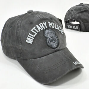 Military Police Distressed Gray Baseball Cap Low Profile Cotton Hat MP Badge