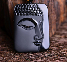 Natural Obsidian Hand Carved Lucky Amulet Buddha Necklace Pendant #94