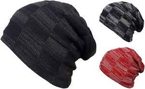 Mens or Womens Beanie Hats Oversize Knitted Fur Lined Winter Slouch Beanies New