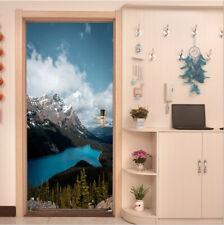 Snow Mountain Blue Lake Sky Photo Door Stickers Self-Adhesive Door Murals Poster