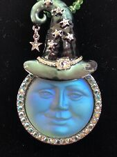 Kirks Folly Seaview Moon Witch Pin/Enhancer Green With Crystal Necklace RARE