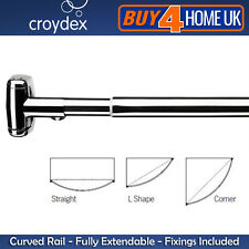 Croydex Premium Telescopic Curved Shower Curtain Rail - Extendable Chrome Rod