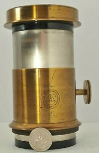 Large Antique Brass Bausch & Lomb Projection Lens