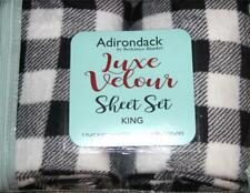 4-Pc Adirondack Berkshire Blk Whi Buffalo Plaid Velour Plush KING Sheet Set NIP