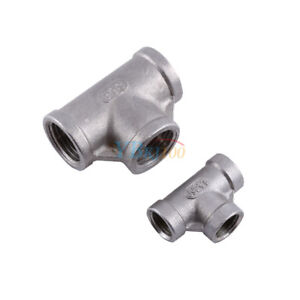 """1/2"""" 1/4"""" Tee 3 way Stainless Female Threaded Pipe Fitting Joint Connector NPT G"""