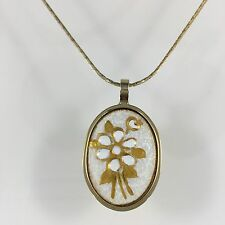 VTG Estate Delicate Gold Tone Chain Necklace Old Hand Painted Flower Pendant