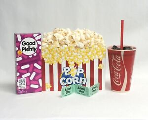Fake food movie night theater props snaks w/ box of popcorn