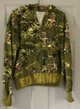 Vintage Hoodie Don Ed Hardy Tiger Green L Large Graphics 90's Unisex