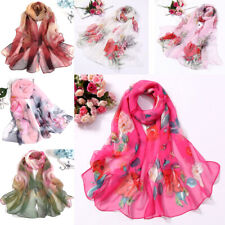 Women Beach Towel Chiffon Sun Block Shawl Floral Print Scarves Turban Head Wrap