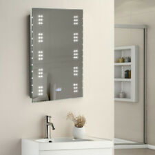 Bathroom LED Light Mirror With Toothbrush/Shaver Socket IP44 Demister AND Clock