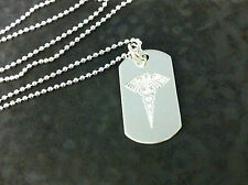 ARGENTO Sterling Medical Alert DOG TAG SU PALLA CATENA. SOS, il diabete, allergie