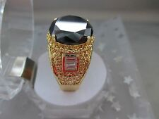 Antique Style 6+Ct,13mm Black Diamond14K Yellow Gold plated ring for Men size10