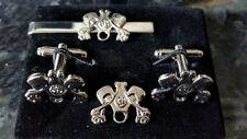 Masonic Biker silver colour cufflinks, tie slide+ lapel pin set, pistons, clutch