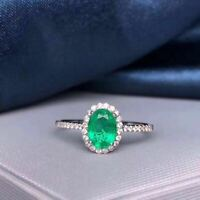 Certified Natural Colombian Emerald Ring 925 Sterling Silver Wedding Women Gift