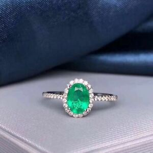 Certified Natural Colombian Emerald Ring Silver White Women Gift
