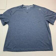 Reebok Active T-Shirt Mens 2Xl Blue Short Sleeve V Neck Workout Gym Running Tee