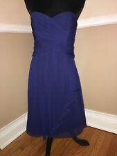 Davids Bridal strapless Short Crinkle Chiffon Dress F14847 blue knee gown 4 NEW