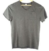 Mens G STAR RAW Front Pocket V Neck Logo T Shirt  Gray Size Large