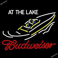 17X14 RARE New Budweiser At The Lake Beer Bar Real Neon Light Sign FAST SHIPPING