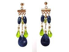 Gemshine - Damen - Chandelier - Ohrringe - Lapis Lazuli - Blau - Peridot - Grün