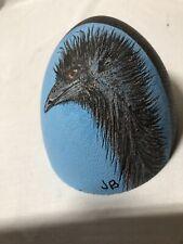 Artist Original Hand Painted One-Of-A-Kind Emu Bird On Dark Green Emu Egg