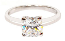 14KT Solid White Gold 2.50Ct Cushion Shape Solitaire Anniversary Women's Ring