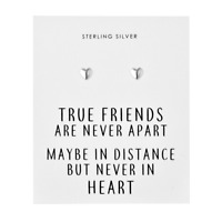 Sterling Silver Friendship Quote Heart Earrings