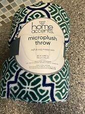 Home Accents Micro Plush Throw Belks 50x60 blue green white New Hg1