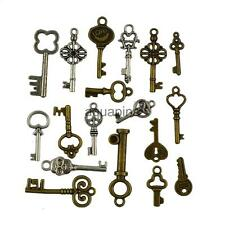 60pcs Mixed Vintage Bronze Silver Key Charms Pendant Antique Jewelry Craft