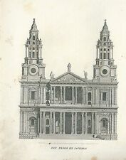 1849 SAN PAOLO DI LONDRA copperplate Pomba Ed. Saint Paul's Cathedral London