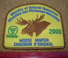 2000 ONTARIO MNR MOOSE HUNTER PATCH DNR DEER BEAR ELK CREST BADGE FISH hunting