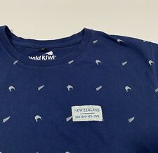 Men's Wild Kiwi New Zealand T-Shirt Medium Blue Silver Fern Kiwi