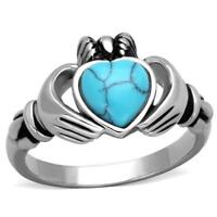 Women's Stainless Synthetic Sea Blue Stone Heart Shaped Claddagh Ring TK1770