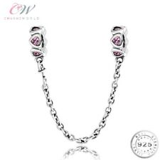 Safety Chain for Charm Bracelet Genuine 925 Sterling Silver & Pink CZ 💞