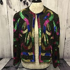 Vintage Scala Womens Sequin Beaded Long Sleeve Open Front Silk Blouse Shirt (C2)