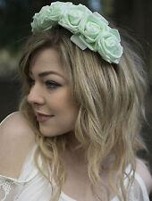 Large Mint Green Rose Flower Headband Hair Crown Festival Garland Boho Big P69