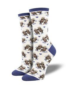 """Socksmith Women's Socks Novelty Crew Cut Socks """"Otter"""" / Choose Your Color!!"""
