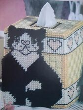 ''KITTY LOVE TISSUE BOX COVER''~*~PLASTIC  CANVAS PATTERN~*~