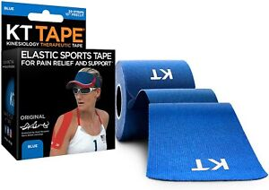 """KT Tape 10"""" Precut Kinesiology Therapeutic Elastic Sports Roll, 20 Strips, Blue"""